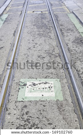 Roads tram with a tram signal, detail of a roads for public transport, city transport