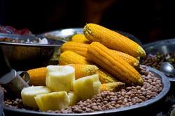 roadside eatery selling corn and peanuts