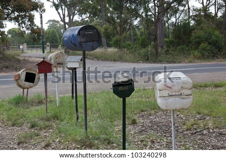 Roadside letter boxes. Country NSW. Australia.