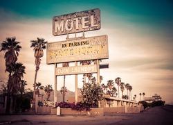 Roadside motel sign - decayed iconic desert Southwest USA