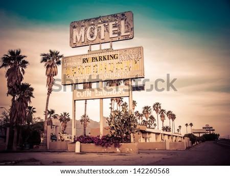 roadside motel sign   decayed...