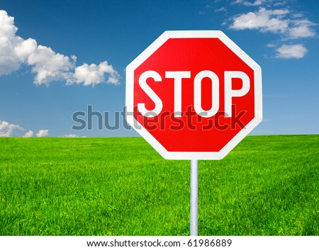 roadside red stop sign in outdoor