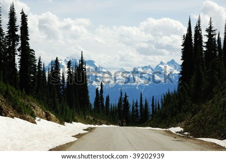 Roadside view of the rocky mountains and forest along the highway 1, british columbia, canada
