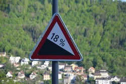 Roadsign Attention 18% downhill inclination