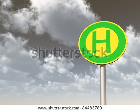 roadsign bus stop under cloudy sky - 3d illustration
