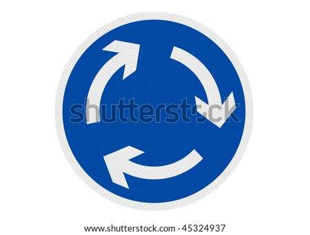 Roadsign depicting a roundabout. concept of neverending, going around in circles. Isolated on pure white background.