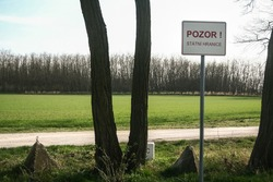 Roadsign indicating Pozor Statni hranice, meaning in Czech Attention State border at border with Austria between Novy Prerov and Alt Prerau indicating of the frontier, in Schengen space.