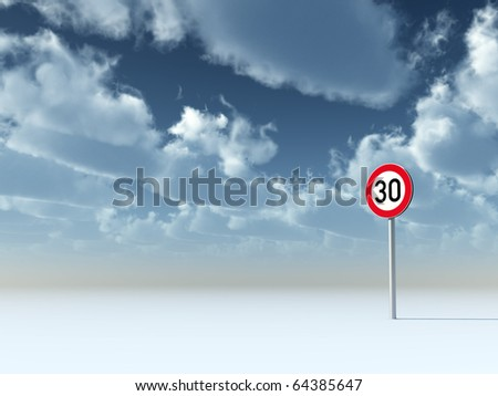 roadsign speed limit thirty under cloudy blue sky - 3d illustration