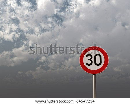 roadsign speed limit thirty under cloudy sky - 3d illustration