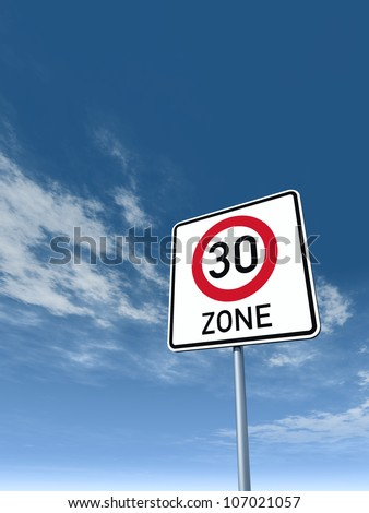 roadsign thirty area under cloudy blue sky - 3d illustration