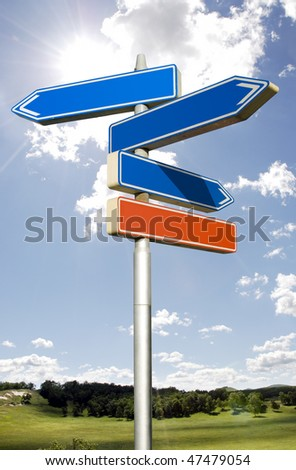 Roadsign with empty direction arrows isolated on sky
