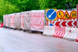 roadworks signs on the highway general plan
