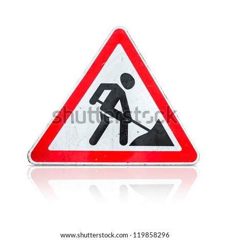 Roadworks, under construction, men at works sign isolated on white