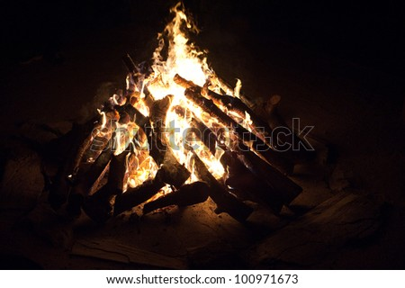 Roaring camp fire in the bush, South Africa