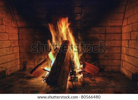 Roaring Fire burning wood in Fireplace