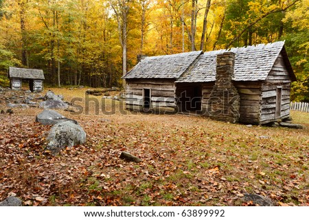 Roaring fork motor road, the great smoky mountains national park. Old cabin in autumn