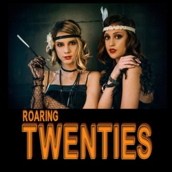 Roaring twenties poster flapper party girl, vintage 20s fashion style and make up and hairstyle, costume, model young woman, Caucasian girl