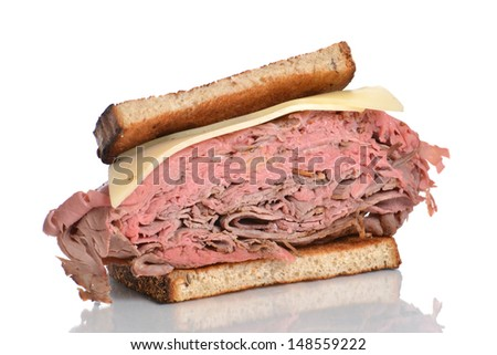 roast beef sandwich on rye isolated white background
