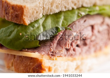 roast beef sandwich with cheese, take out style from a deli Stok fotoğraf ©
