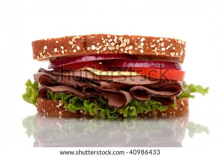 Roast beef sandwich with whole wheat bread
