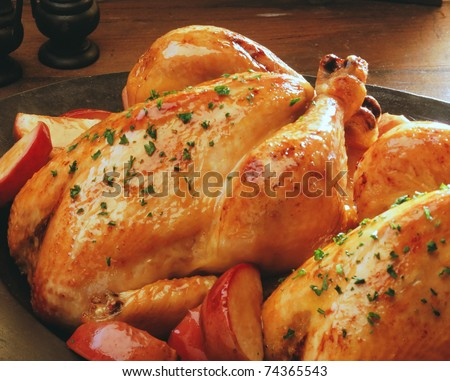 roast chicken isolated on a white background