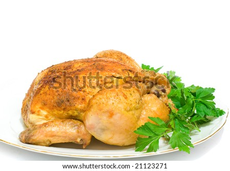 Roast chicken on the white dish