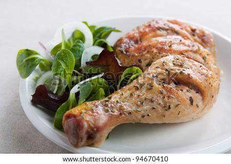 Roast chicken thigh with salad