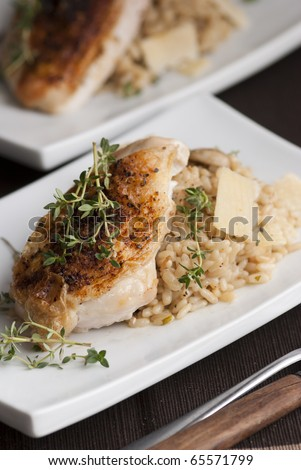Roast chicken with mushroom risotto
