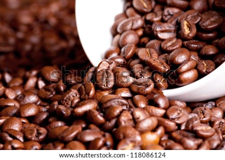 Roast coffee beans with white cup on table