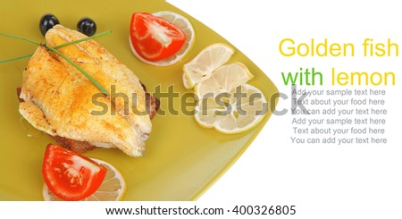 roast fish fillet served on bread with tomatoes,olives and chives