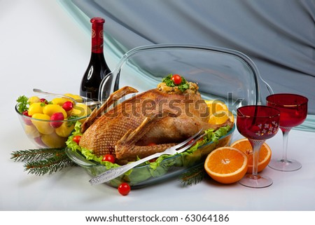 Roast Goose In Glass Baking Pan