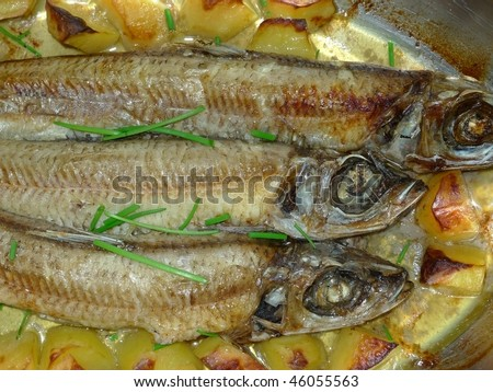 roast  herring fishes detail