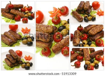 roast lamb kebab with small red peppers