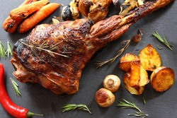 Roast Leg of Lamb and vegetables