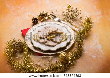 roast meat over gold christmas table #348324563