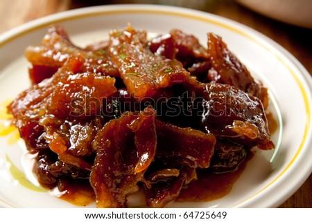 Roast pork close up.
