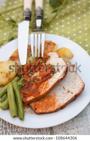 Roast Pork Tenderloin with Vegetable Sauce, Potato and Beans