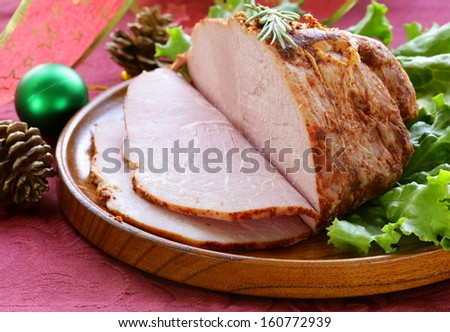 roast pork with paprika and rosemary for Christmas dinner
