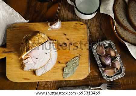 roast turkey meat with bay leaf ...