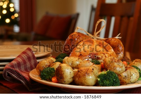 Roast turkey, potatoes, onions, broccoli and carrots, Christmas tree in background.