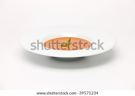 Roast Vegetable  Soup in white dish