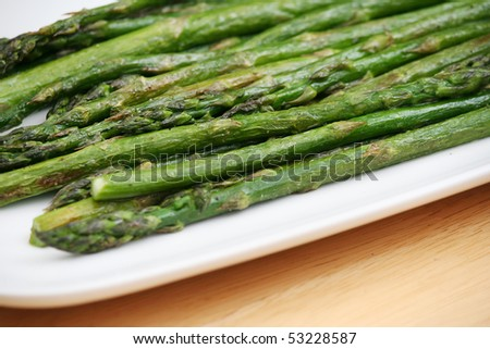Roasted Asparagus on a White Plate