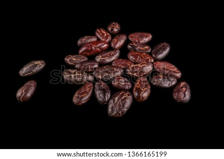 Roasted beans. Cocoa beans and coffee beans isolated on black background.