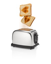 Roasted bread slices with roasted heart symbol is flying out from toaster with motion blur. Love the bread slices or love at the bread slices.