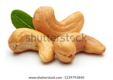 Roasted cashew nuts with green leaves isolated on white background. Macro, studio shot