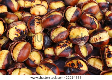roasted chestnut as background