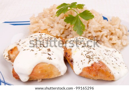 Roasted chicken breast with sour cream served with brown rice - stock photo