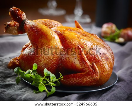 roasted chicken on gray plate