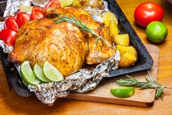 Roasted chicken on the foil
