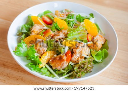 roasted chicken salad with sesame dressing #199147523